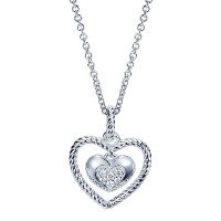 Gabriel & Co. NK3702SV5JJ Sterling Silver Diamond Heart Necklace