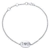 Gabriel & Co TB3118SV5JJ Sterling Silver I Heart U Diamond Bracelet
