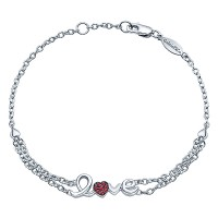 Gabriel & Co TB3157SVJRA Sterling Silver and Ruby Love Bracelet