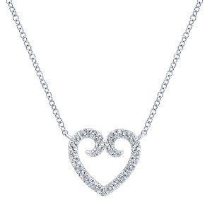 Gabriel & Co. NK4022W45JJ 14k White Gold Diamond Heart Necklace