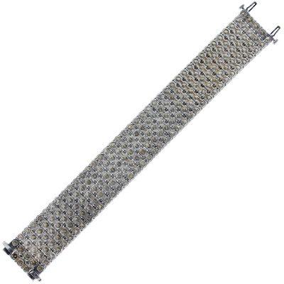 5 row diamond bracelet in 18k white gold