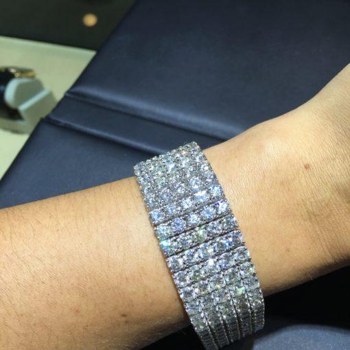 18k White Gold 5 Row 76.41ctw Diamond Bracelet