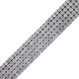 18k white gold 5 row diamond bracelet round brilliant diamonds
