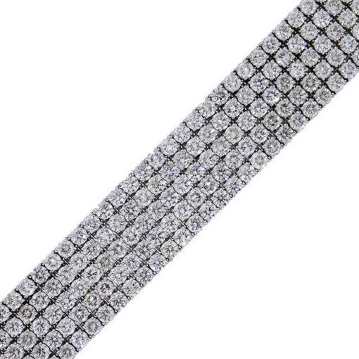 18k white gold 5 row diamond bracelet round brilliant diamonds