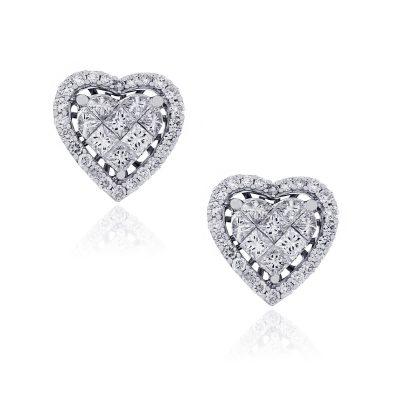Diamonds heart earrings