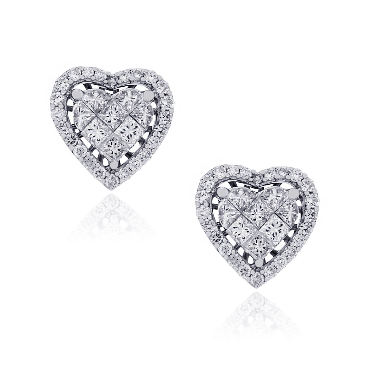 Diamonds heart earrings
