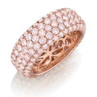 Henri Daussi R22-2 Rose Gold 4ct Fancy Pink Diamond Eternity Band