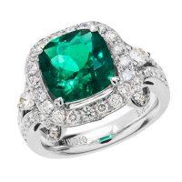 Amoro 18k White Gold 3.08 Colombian Emerald Diamond Ring
