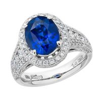 Amoro 18k White Gold 5.48 Ceylon Sapphire Diamond Ring