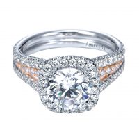 Gabriel & Co. ER6891T83JJ 18k White & Pink Gold Halo Engagement Ring Setting
