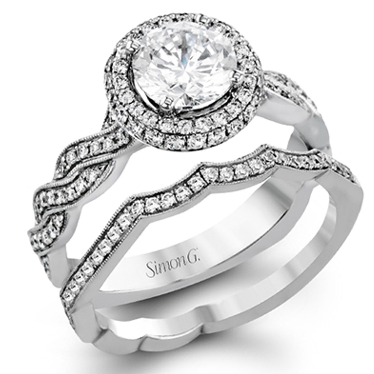 Simon G Engagement Rings 18k White Gold 53ctw Accents
