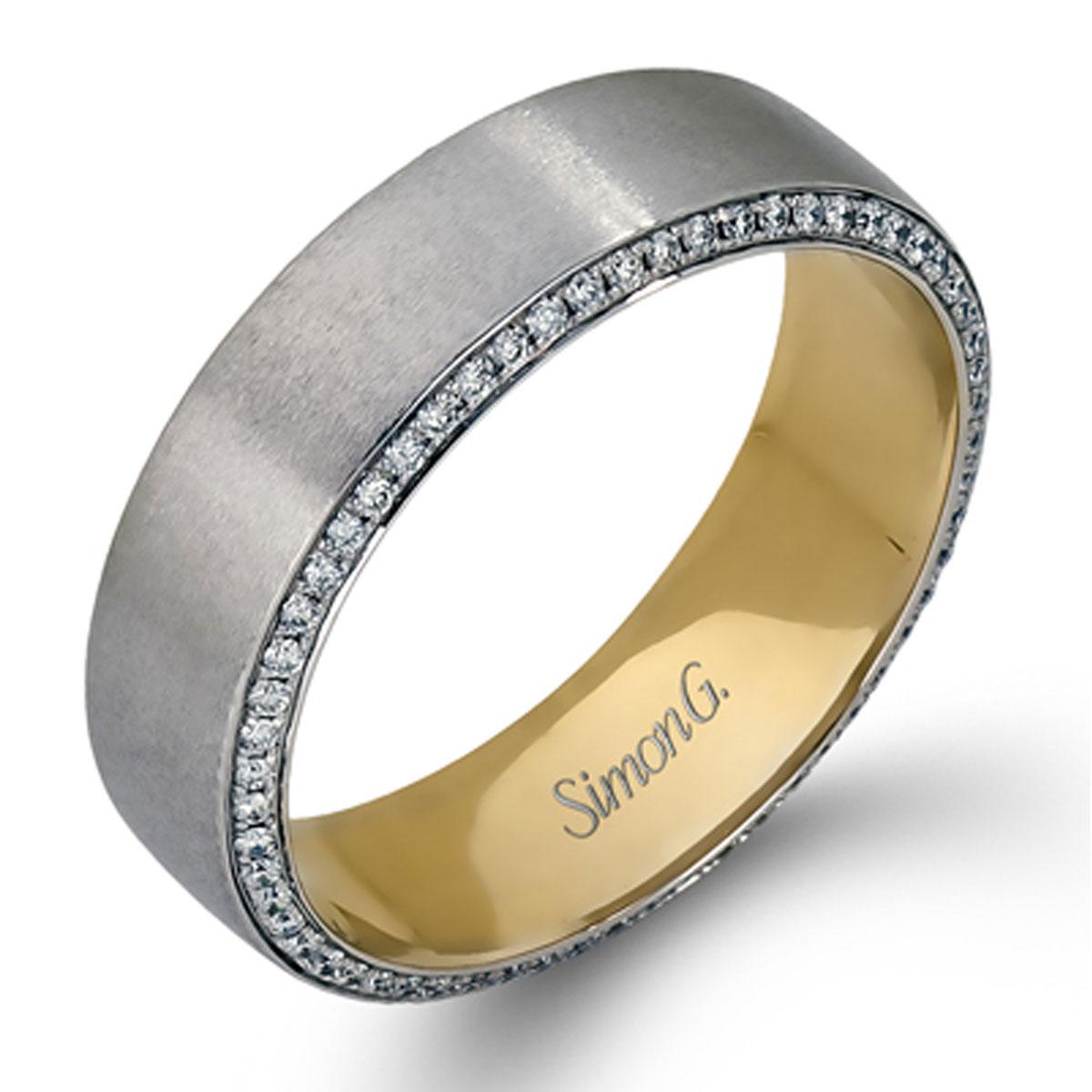 simon g engagement rings two tone men's wedding band .50ctw