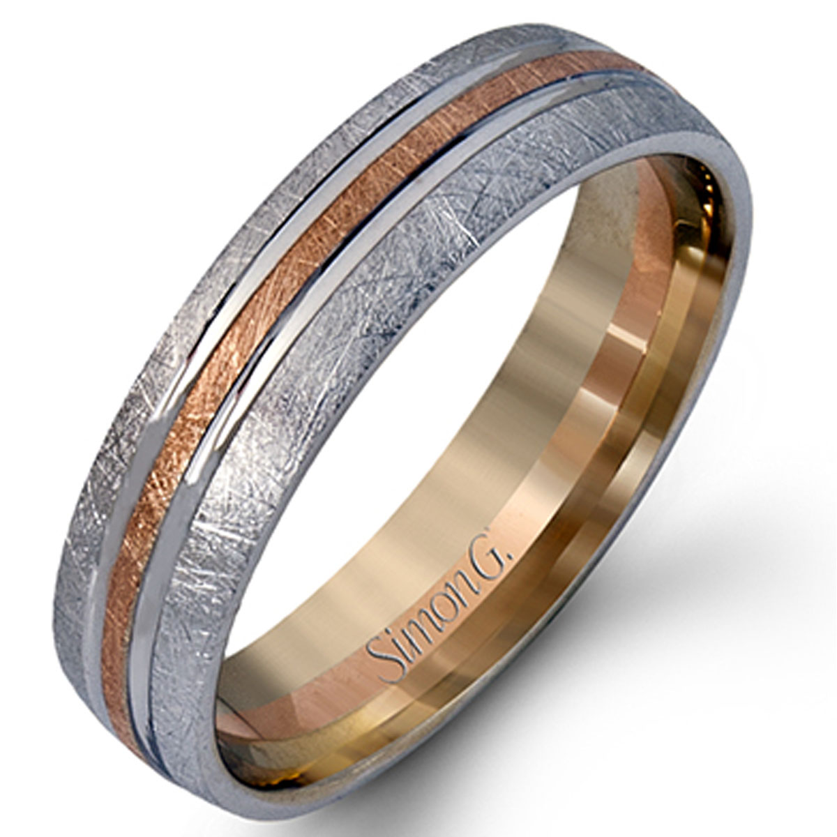 Contemporary Bands: Simon G Engagement Rings Two Tone Contemporary Men's 18k Band
