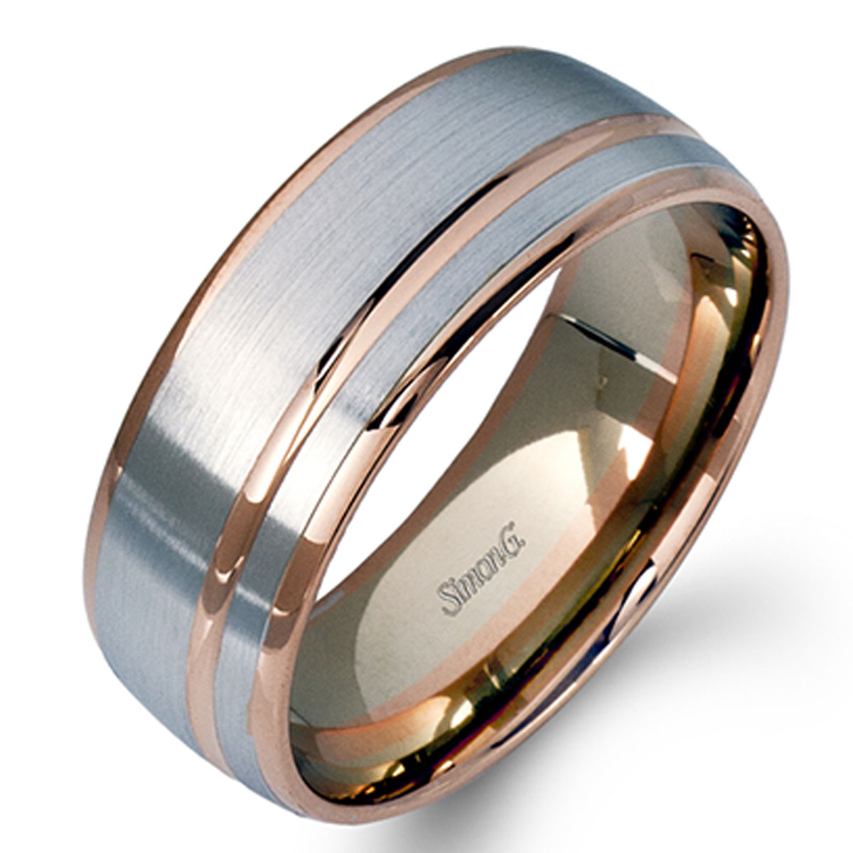 Banded Bands: Simon G Engagement Rings Contemporary Men's Two Tone Modern