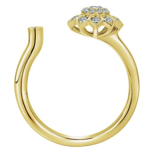 Gabriel & Co. LR50912Y45JJ 14k Yellow Gold Diamond Flower Open Ring