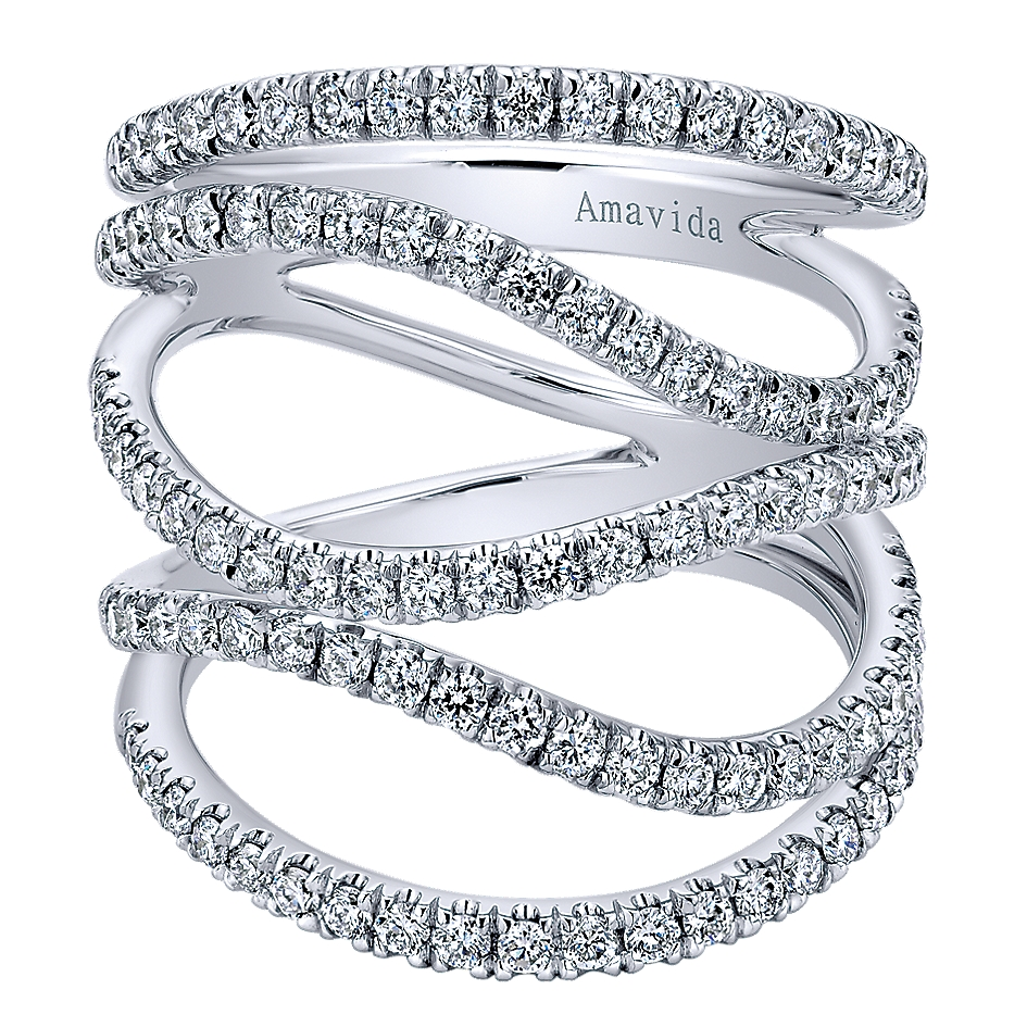 Gabriel Amp Co Rings 18k White Gold Open Crossover Diamond Ring