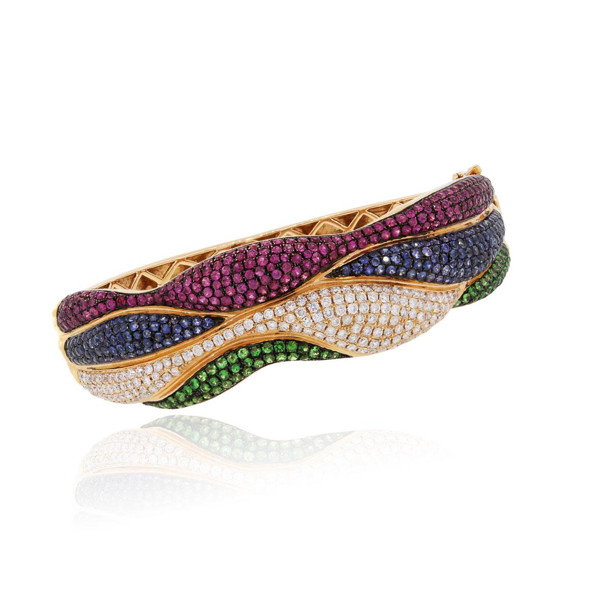 18k Rose Gold 8.26ctw Diamond and Multi Gemstone Bracelet