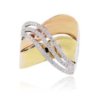 18k Tri Gold 0.57ctw Diamond Crossover Ring