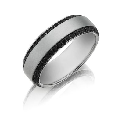 Henri Daussi MB2 0.95ct 7mm Men's Black Diamond Eternity Wedding Band