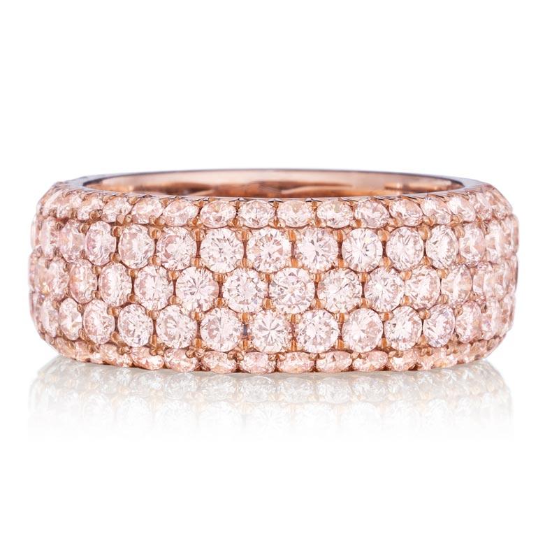 bb091a2de0cfb Henri Daussi R22-2 Rose Gold 4ct Fancy Pink Diamond Eternity Band