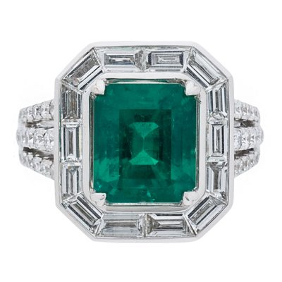 Amoro 18k White Gold 3.80ct Colombian Emerald Diamond Ring