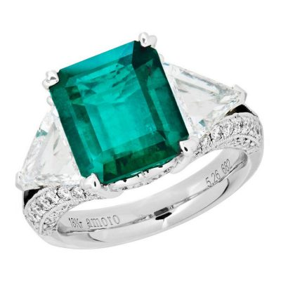 Amoro 18k White Gold 5.26ct Colombian Emerald Diamond Ring
