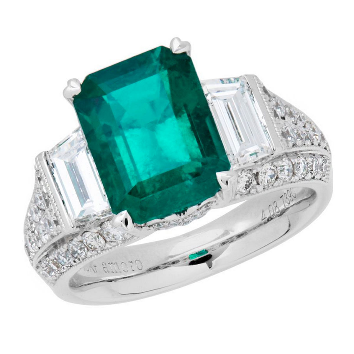 Amoro 18k White Gold 4.08ct Colombian Emerald Diamond Ring