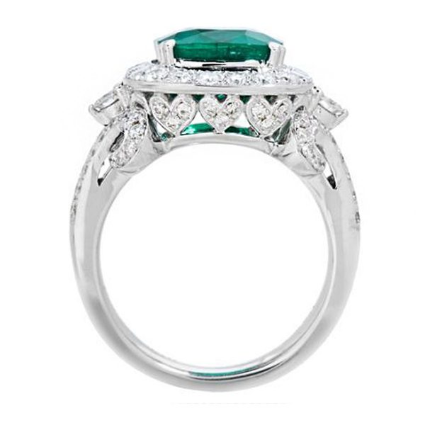 Amoro 18k White Gold 3.08 Colombian Emerald Diamond Ring