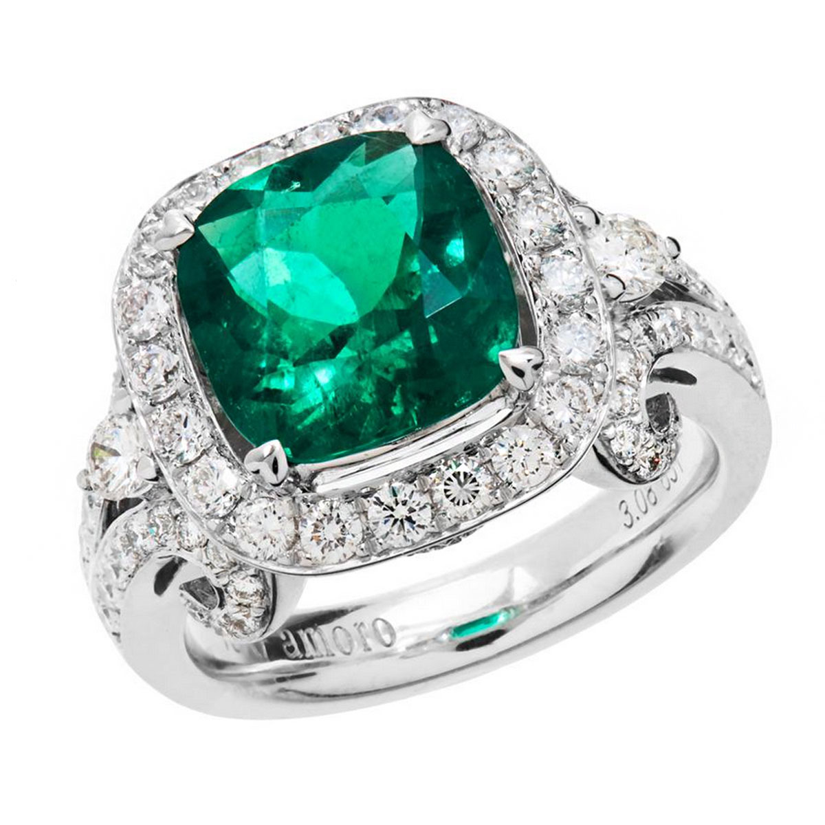 Amoro 18k White Gold 308 Colombian Emerald Diamond Ring