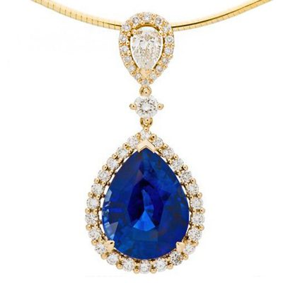 Amoro 18k Yellow Gold 11.88ct Ceylon Sapphire Diamond Necklace