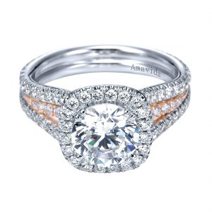 Perfect engagement ring stack with Victorian style halo