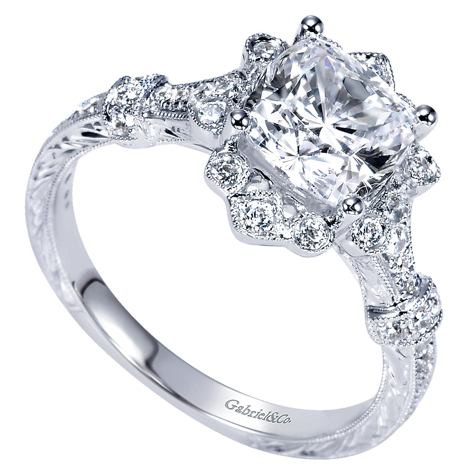Gabriel & Co Engagement Rings Victorian Vintage Flare 14k