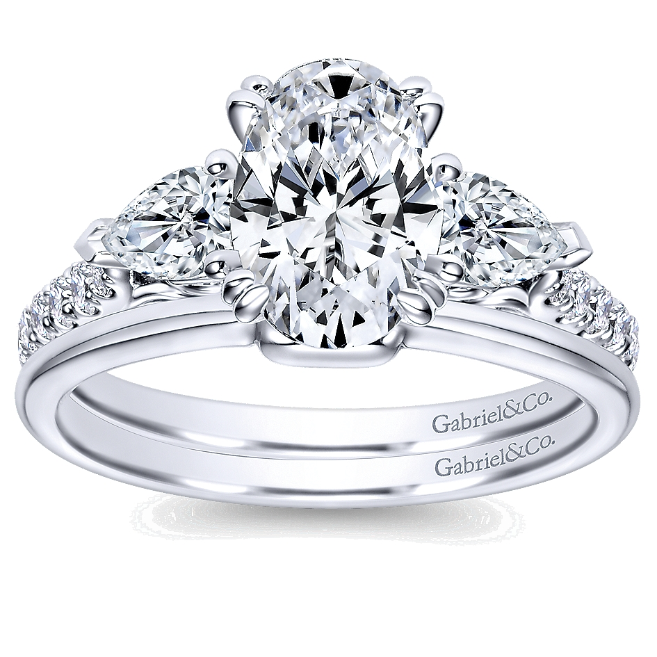 er9048w44jj 14k white gold diamond 3 stone engagement ring setting - 3 Stone Wedding Rings