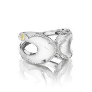 Tacori SR162Y City Lights Silver Crescent Milgrain Ring
