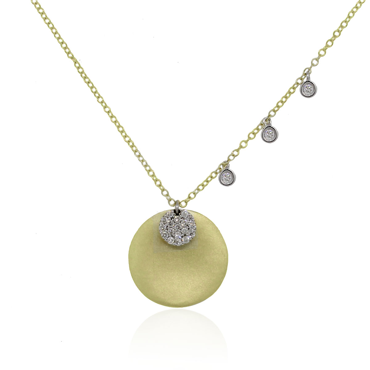 Meira t 14k two tone gold diamond disc pendant for Fine jewelry diamond pendants