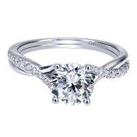 Gabriel & Co. ER11794R3W44JJ 14k White Gold Diamond Criss Cross Engagement Ring