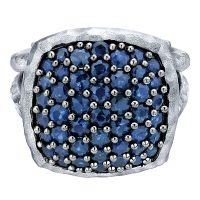 Gabriel & Co. Souviens Collection Sterling Silver Sapphire Ring