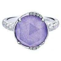 Gabriel & Co. Souviens Collection Silver Diamond Purple Jade Ring
