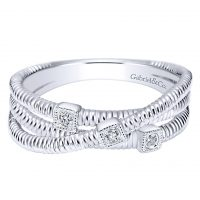Gabriel & Co. Scalloped Collection Silver Diamond Wide Band