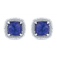 Gabriel & Co. Souviens Collection Sterling Silver Sapphire Stud Earrings