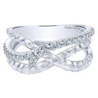Gabriel & Co. Souviens Collection Silver White Sapphire Ring