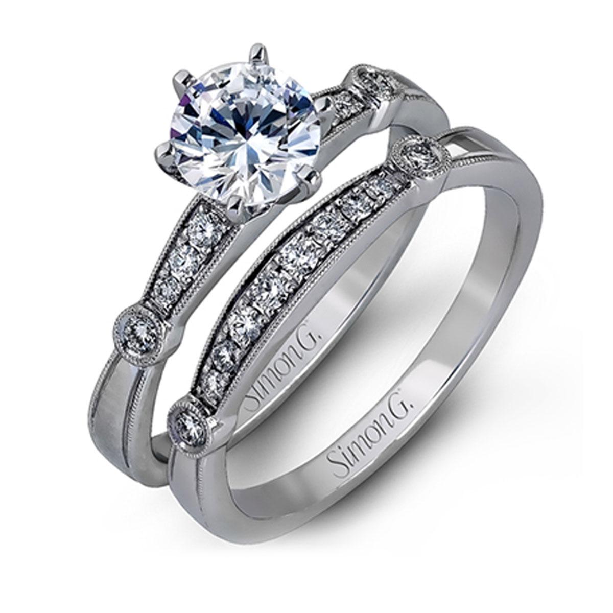 Simon G MR1546-D 18k White Gold Engagement Ring Set