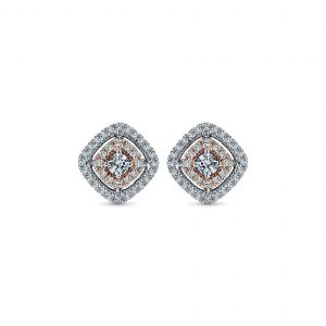 Gabriel & Co. 14k White and Pink Gold Double Pave Diamond Stud Earrings