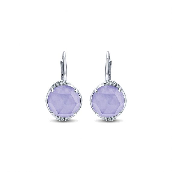 Jewelry Souviens Collection Diamond Purple Jade Drop Earrings