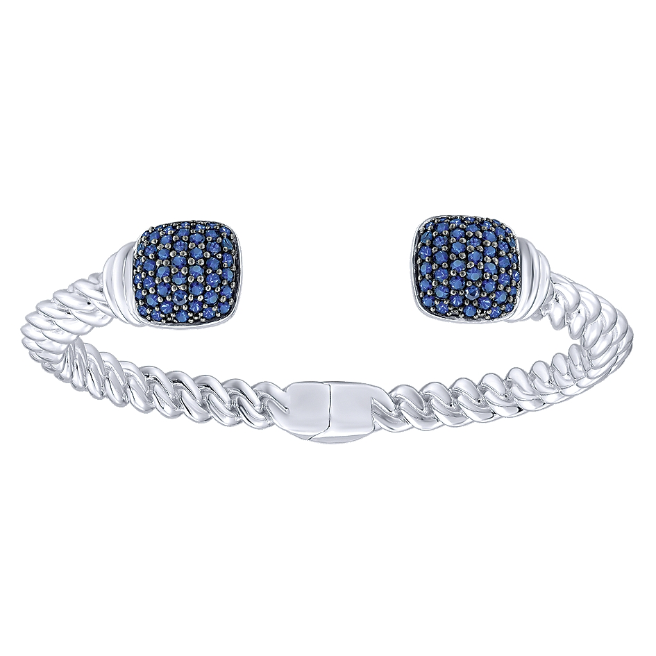 Gabriel & Co. Jubilee Collection Silver Sapphire Bangle