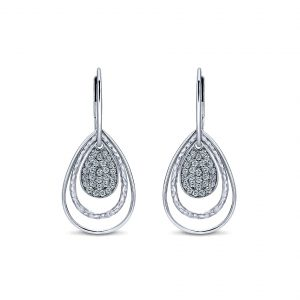 Gabriel & Co. Souviens Collection Silver White Sapphire Drop Earrings