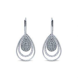 Gabriel & Co. Souviens Collection Silver White Sapphire Drop Earrings