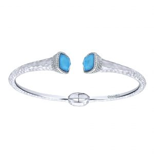 Gabriel & Co. Temptation Collection Rock Crystal & Turquoise Bangle