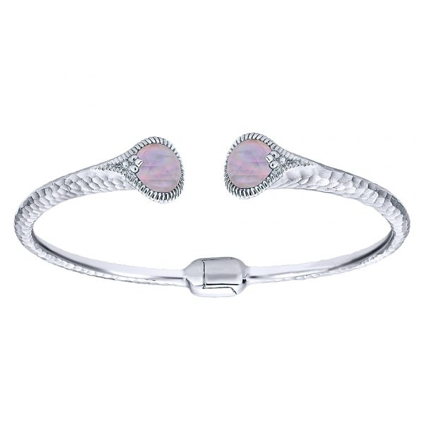 Gabriel & Co. Temptation Collection Rock Crystal & Pink Mother Pearl Bangle