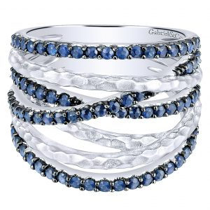 Gabriel & Co. Souviens Collection Silver Sapphire Wide Band